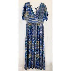 Garnet Hill Faux Wrap Kimono Maxi Dress